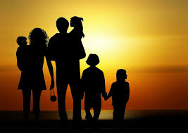 family and sunrise